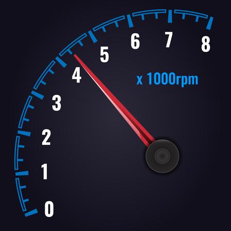 Tachometer up to 8 x 1000 rpm. Revolution-counter gauge. Vector illustration Ilustração Vetorial