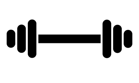 Black Dumbbell icon for your design. Bumbbell silhouette isolated. Vector illustration.