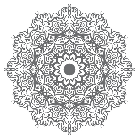 Hand drawn floral mandala geometry circle element. Vector illustration. Vettoriali