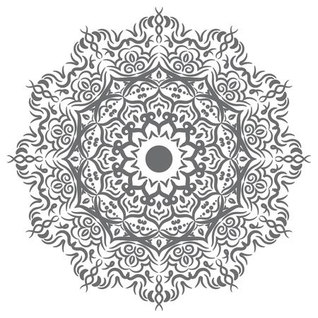 Hand drawn floral mandala geometry circle element. Vector illustration. Illustration