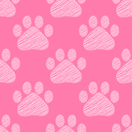 Hand drawn doodle style cat footprint seamless background texture. Vector illustration.  イラスト・ベクター素材