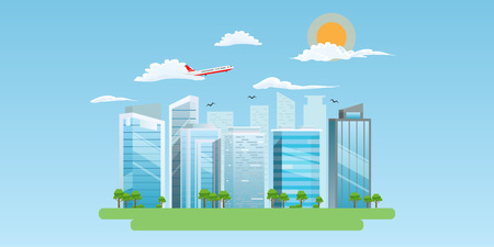 Cool Cityscape with nice buildings and sky with clouds. Plane flying in the sky. Vector illustration.