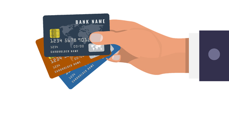 Hand holds three credit cards in three different colors. Dark Blue, orange and blue colors. Vector illustration.