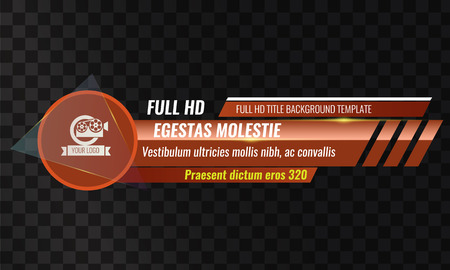 Unique Video headline title or lower third template. Vector illustration - Orange color