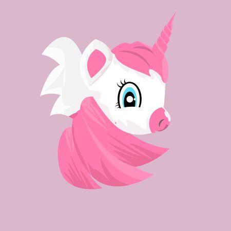 Cute little pink magical unicorn. Cartoon style unicorn for your t-shirt design. Flat color vector illustration. Иллюстрация
