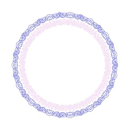 Decorative round frame border with antique baroque style for plate design. Vector illustration.