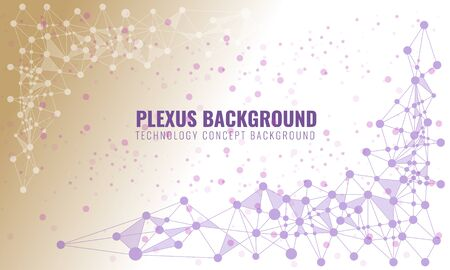 Abstract plexus background with connected lines and dots. Wave flow for your visit card or flyer background. Vector illustration.