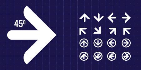 Trendy Arrow icon or sign set for your design. Round edge arrows vector illustration.