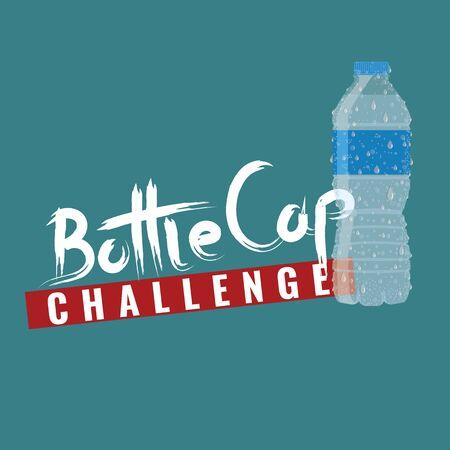 Bottle cap challenge. Bottle cap text for your t-shirt design. Vector illustration. Banque d'images - 131979738