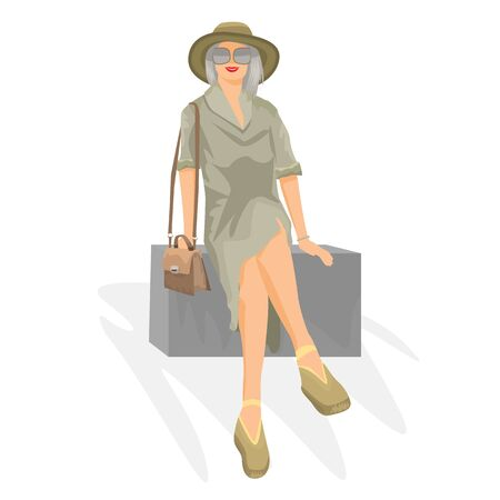 Young woman sits on box. Travel concept for your design. Vector illustration. Reklamní fotografie - 131980065