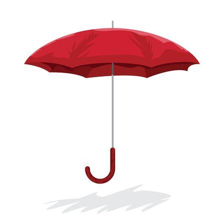 Hand drawn cartoon style red umbrella. Vector illustration.