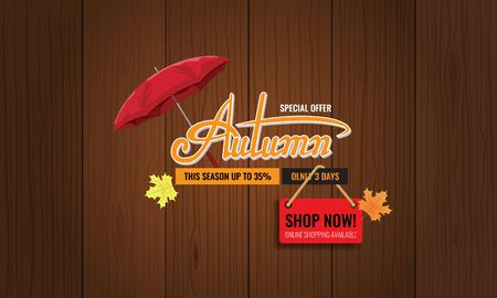 Autumn sale background layout. Autun sale Calligraphy with umbrella for greeting card. Vector illustration template. Zdjęcie Seryjne - 131980264