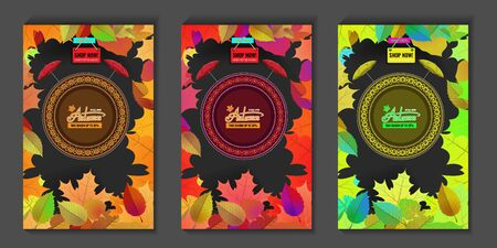 Autumn sale story template for your socal meda design. Vector illustration template. Zdjęcie Seryjne - 131980332