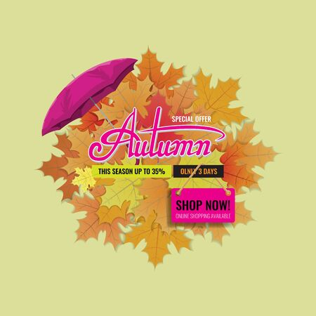 Autumn sale background layout with cute lettering or calligraphy and with Umbrella. Vector illustration template. Zdjęcie Seryjne - 131980340