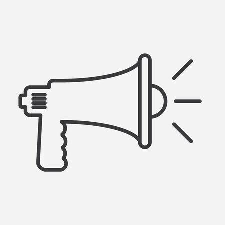 Luidspreker silhouet icoon met lijn kunststijl. Vector illustratie. Vector Illustratie
