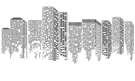 Abstract Futuristic City. Cityscape buildings made up with dots, Digital city landscape. illustration Rasterized copy..