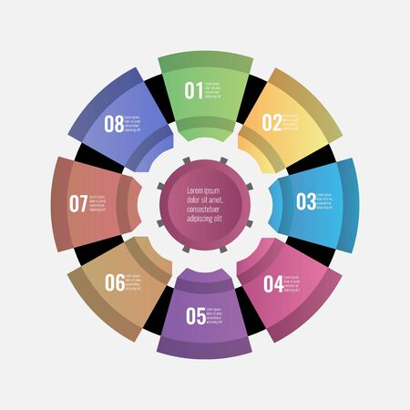 Circle chart infographic template with 8 options for your design. Vector illustration.