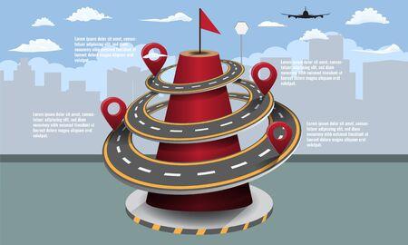 Business road map timeline infographic city for your design. Digital marketing data presentation chart Vector illustration