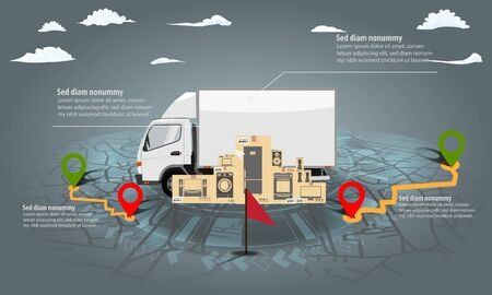 Cargo delivery truck infographic with stack of cardboard boxes. Navigation map and hud chart background. Vector illustration