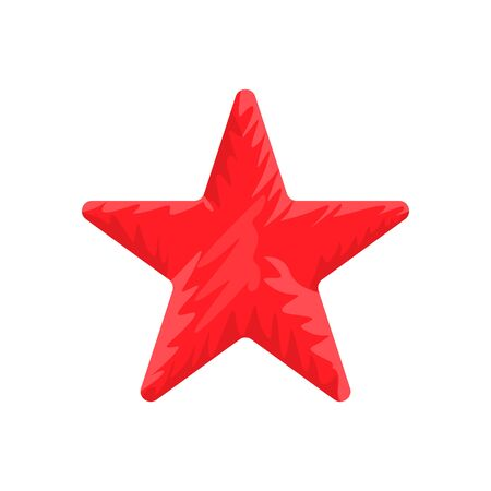 Red Star shape with hand drawn style. Solid and flat color vector illustration.