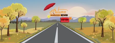 Panorama autumn landscape with yellow trees mountain and road. Fantasy wonderland landscape in fall season. Vector illustration.