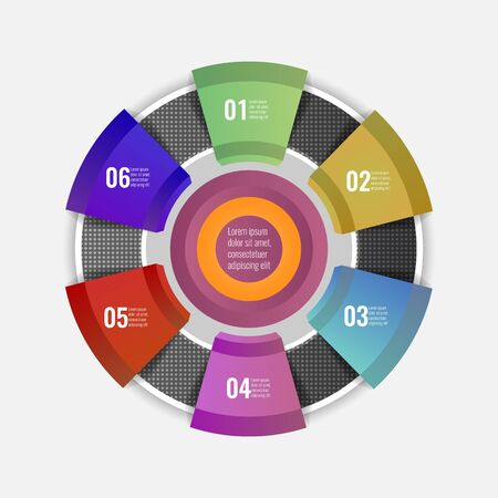 Circle chart infographic template with 6 options for your design. Vector illustration.
