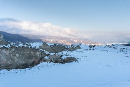Snowy mountain and hills. Winter mountain landscape.