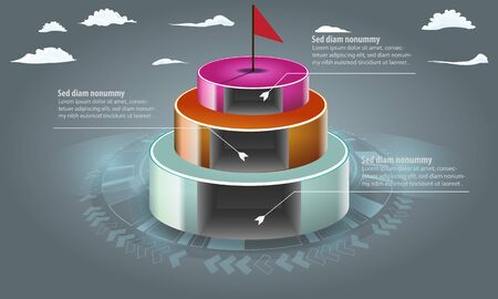 3d discs with cutted holes on them for infographic template with 3 steps or options. 3d vector illustration.