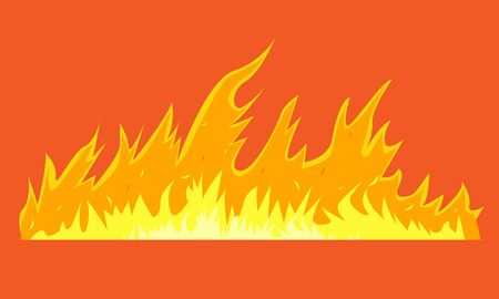 Horizontal long wild fire for your design. Vector illustration. Çizim