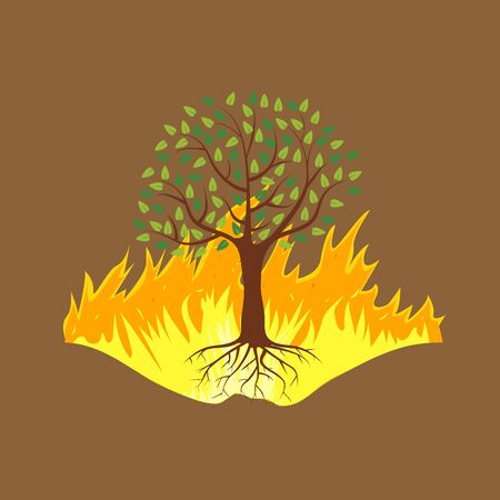 Wildfire disaster with burning forest tree. Vector illustration. Standard-Bild - 131980910