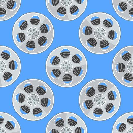 Film Reel seamless pattern. Cinema Movie Reel texture with flat and solid color. Vector illustration