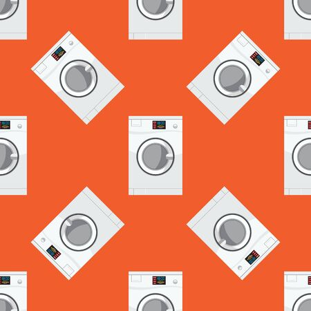 Laundry room or washing machine seamless pattern. Flat and solid color texture. Vector illustration.