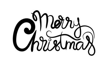 Feliz navidad banner de letras dibujadas a mano. Emblema de tipografía. Diseño de tarjeta de inscripción de caligrafía de texto. Ilustración de vector aislado Ilustración de vector