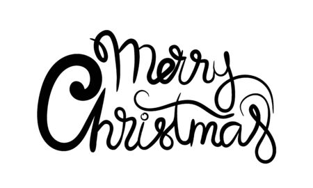 Merry christmas hand drawn lettering banner. Typography emblem. Text calligraphy inscription card design. Isolated vector illustration Vetores