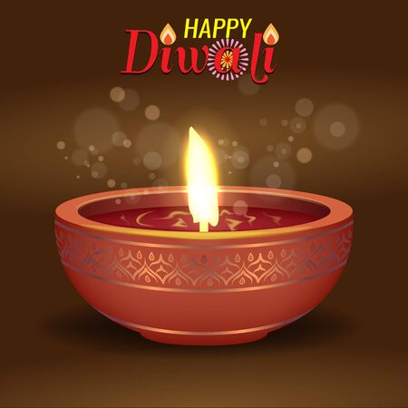 Burning diya for Diwali Holiday concept design. Diwali calligraphy. Vector illustration. Zdjęcie Seryjne - 131981228