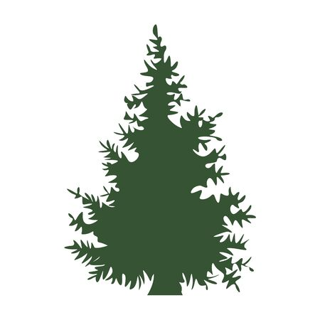 Hand drawn Fir tree with for your design. Cartoon style hand drawn christmas tree. Vector illustration. Illustration