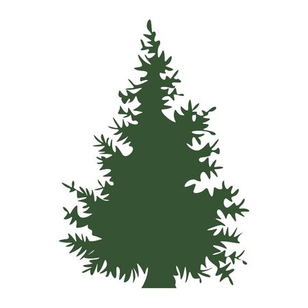 Hand drawn Fir tree with solid and flat color design. Cartoon style hand drawn christmas tree. Vector illustration.