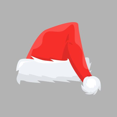Santa Claus cap with cartoon style for your design. Flat and solid color vector illustration.