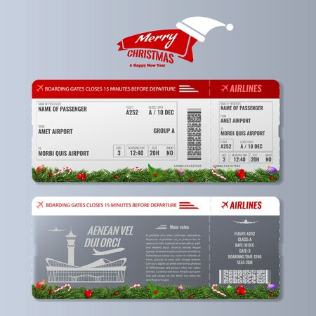 Modèle de conception de carte d'embarquement ou de billet d'avion avec concept de vacances de noël ou du nouvel an. Illustration vectorielle.