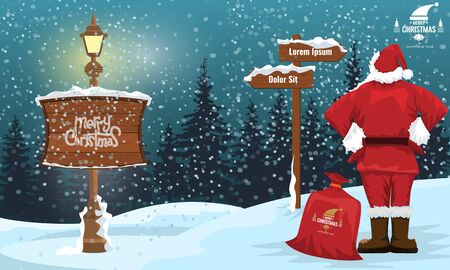 Santa Claus looking at a arrow with winter landscape and snowflakes. Street lamp and merry christmas writing. Cartoon style flat color vector illustration.