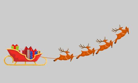 Santas Sleigh with Presents and Reindeer line up for Christmas gift delivery. Isolated Flat, solid and cartoon style vector illustration for your design. Ilustração