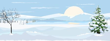 Beautiful horizontal Winter Landscape with mountain fir tree and bare tree with snow. Vector illustration. Çizim