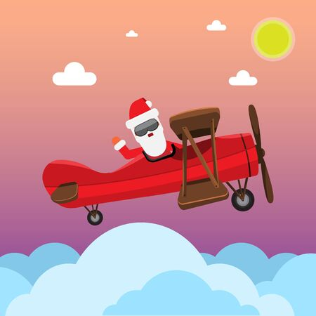 Santa Flying With cartoon style old vintage Plane. Flat and solid color style clouds. illustration. Rasterized copy