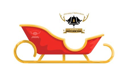 Santa sleigh with cartoon style for your design. Vector illustration