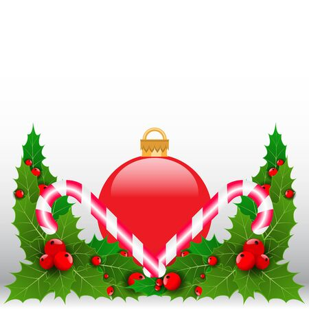 Single red decorated Christmas ball with holy leaf. Vector illustration
