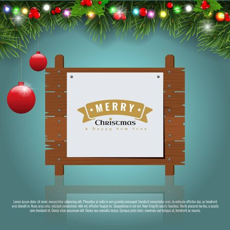 Wooden christmas message board and decoration border with fir leaf. Merry christmas sign emblem. Vector illustration. Çizim