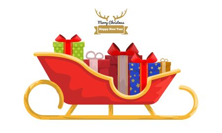 Santa sleigh full of colored gift boxes with cartoon style for your design. Flat and solid color Vector illustration.