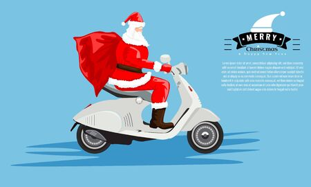 Santa Claus with a sack riding a vintage scooter for your greeting card or cover design. Cartoon style flat vector illustration.