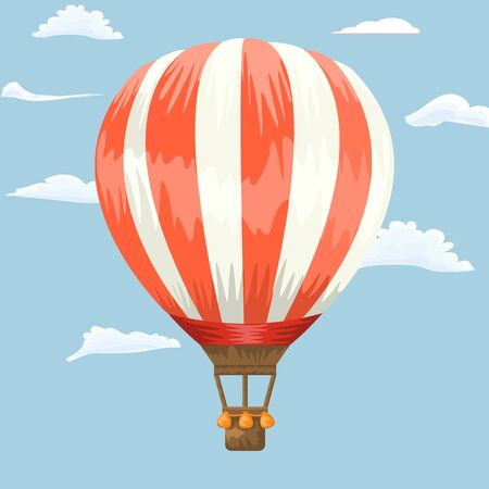 Hot air balloon flying in the sky. Cartoon and hand drawn style flat and solid color. Vector illustration. Çizim