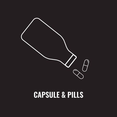 Pill bottle line icon. Pour out capsules or pills. Outline art vector illustration.